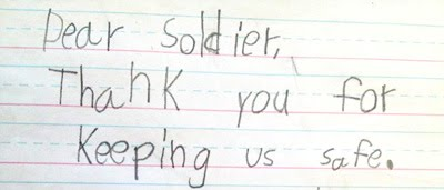 Sample of child's letter to a soldier thanking them for their service.