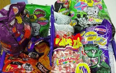 Photo of a pile of Halloween candy bought at after holiday sales!