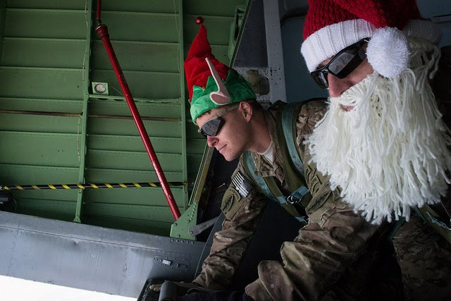 US Army Special Forces soldiers dressed as Santa and elf