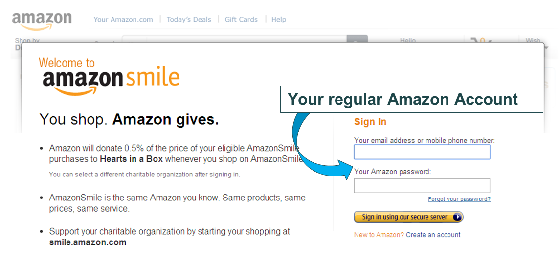 Example of sign up page for Amazon Smile