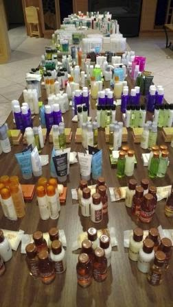 Just one table of the travel sized products we use to make our gift bags
