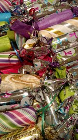 Festive holiday crackers filled with candy