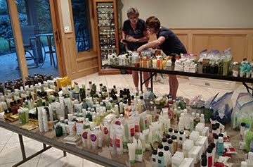 Sheryl and Pam pick toiletries for Girly Bags