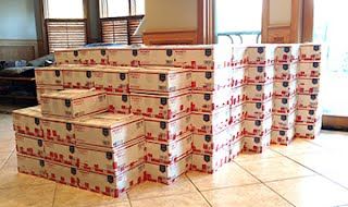 stack of 218 care packages for soldiers